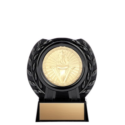 Glass Black Plastic Stand with Triumph Series Medal, 4""