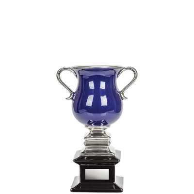 """Ceramic Cup, Blue on Black Base with Silver Handles 8"""""""