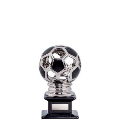 "Ceramic Hollow Soccer Ball, Silver/Black 6"""