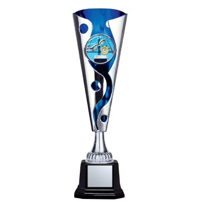 """XL Cyclone Cup 2"""" Insert Holder on Black Square Base, Silver/Blue 13.5"""""""