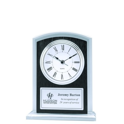 Clock Glass with Black Plate 7""