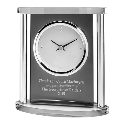 Smoked Glass Clock w Silver Columns, 6.5""