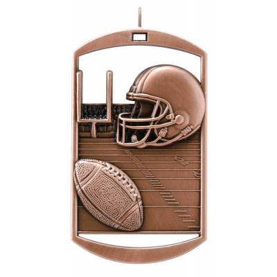 MEDAL DOG TAG FOOTBALL BRONZE