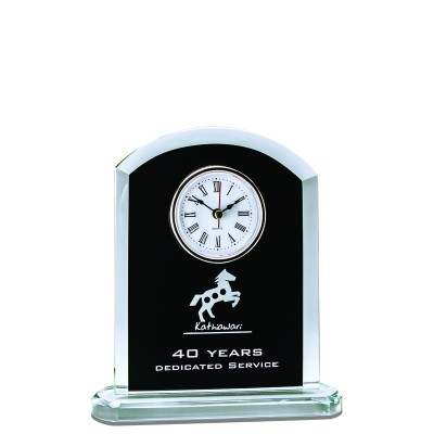 Glass Clock w Rounded Top, Black 7.5""