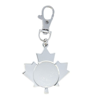 "Key Chain Maple Leaf 1"" Insert Holder with Zipper Pull"