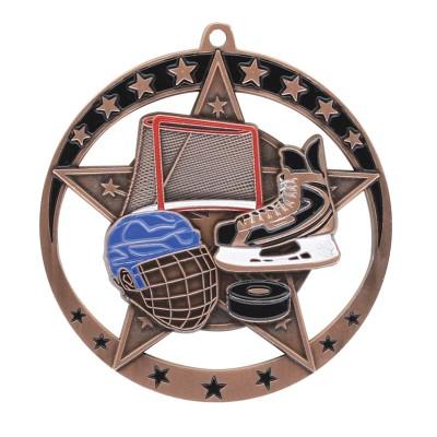 "Medal Star Hockey 2.75"" Dia. Bronze"