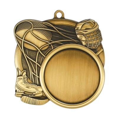 """Medal Sport 1.5"""" Insert 2.5"""" Dia. Hockey Gold"""