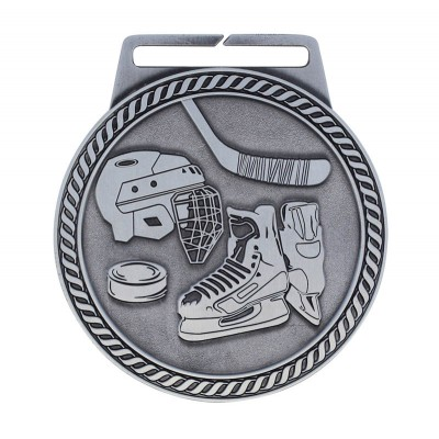 "Medal Titan Hockey 3"" Dia. Silver"