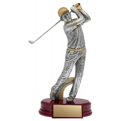 """Golfer Classic Male Resin Silver/Gold 9"""""""