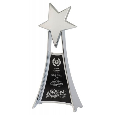 Rising Star on Metal Angled Riser, Silver 10.75""