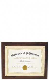 Recessed Certificate Plaque, Cherrywood