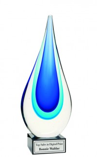 Art Glass, Blue Drop 7.5""