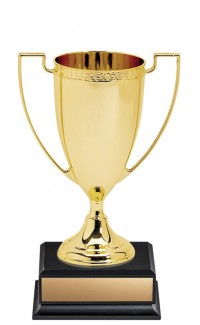 """7.5"""" Nickel Plated Gold Cup on Square Black Base"""