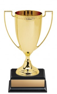 """8.75"""" Nickel Plated Gold Cup on Square Black Base"""