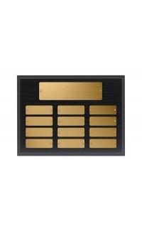 """9""""x12"""" Black Oak Plaque with Gold Plates"""