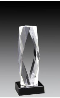"Clear Acrylic Pillar Bevelled w/BK Base 7"""