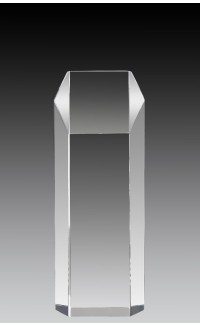 """Clear Acrylic Hex Tower 8"""" x 3"""" x 2"""""""