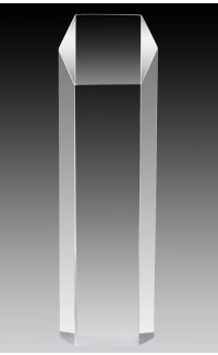 """Clear Acrylic Hex Tower 10"""" x 3"""" x 2"""""""