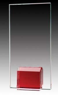 Glass Plaque Ruby Base, 7""