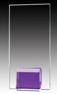 Glass Plaque Violet Base, 7""
