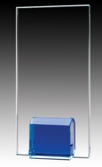 Glass Plaque Blue Base, 7""