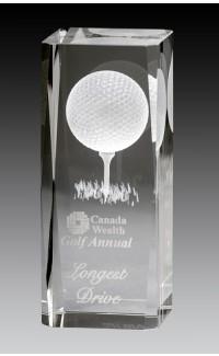 """Rectangular Crystal  Block w Laser Image, Golf 4.75"""""""
