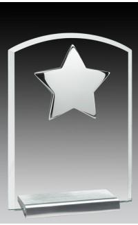 "Glass Plaque w/Silver Star 7"""