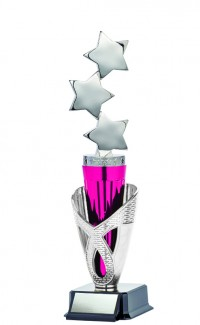 "Astral Series Triple Star with Wrap on Base 11.5"", Silver/Pink"