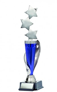 """Astral Series Triple Star with Star Wrap on Base 12.5"""", Silver/Blue"""