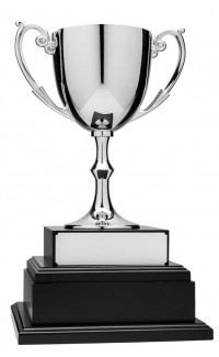 """12"""" Nickel Plated Cup on Black Annual Base, Silver"""