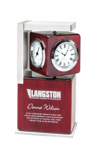 Rosewood Clock w Spinning Cube