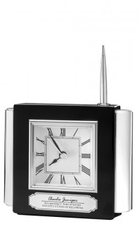 Clock/Pen Set, Ebony Black finish with Metal Trim, 4.5""