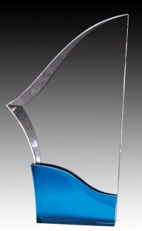 Clear Acrylic Sabre, Blue Base 10.5""