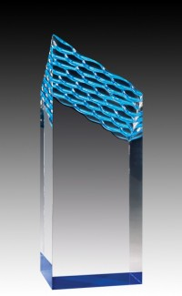 """Clear Acrylic Waterfall Tower, Blue Foil Base 8"""""""