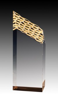 """Clear Acrylic Waterfall Tower, Gold Foil Base 8"""""""