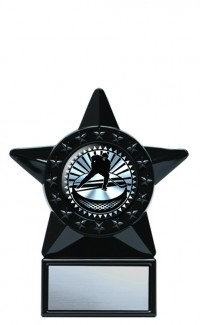 Acrylic Holder with Solar Series Insert, Black Star 6""