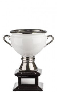 """Ceramic Cup, White on Black Base with Silver Handles 10"""""""