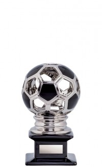 Ceramic Hollow Soccer Ball, Silver/Black 6""