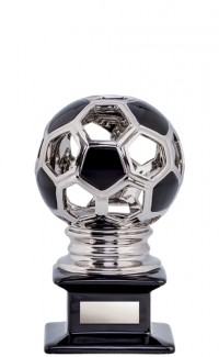 Ceramic Hollow Soccer Ball, Silver/Black 10""