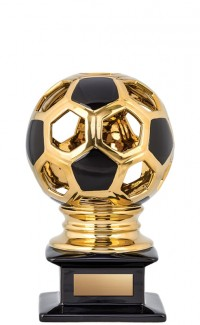 Ceramic Hollow Soccer Ball, Gold/Black 12""