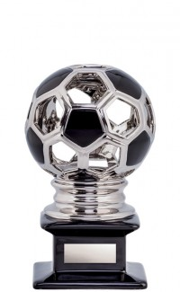 Ceramic Hollow Soccer Ball, Silver/Black 12""