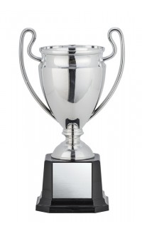 Euro Cup Silver w Tall Thin Handles on Black Square Base, 8""