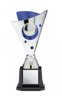 "Plastic Cup 1"" Insert Holder on Black Square Base, Silver/Blue 7"""