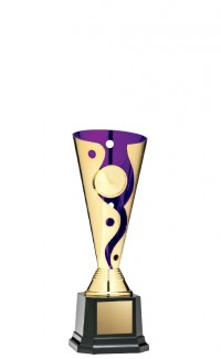 """Cyclone Cup 1"""" Insert Holder on Black Square Base, Gold/Purple 7"""""""