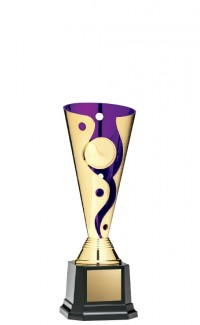 """Cyclone Cup 1"""" Insert Holder on Black Square Base, Gold/Purple 8"""""""