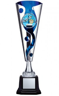 """XL Cyclone Cup 2"""" Insert Holder on Black Square Base, Silver/Blue 14"""""""