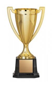 "Plastic Prestige Gold Cup on Square Black Base, 12"""