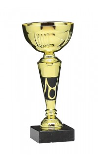 "10.25"" Metal Cup with Gold/Black Riser on Marble Base, Gold"