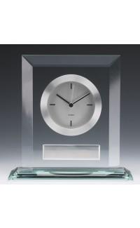 "Glass Clock w White Face, 7"""