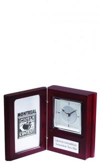 Rosewood Book Clock, Silver